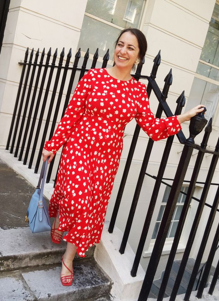 London summer fashion trends: Hannah Almassi in red printed dress