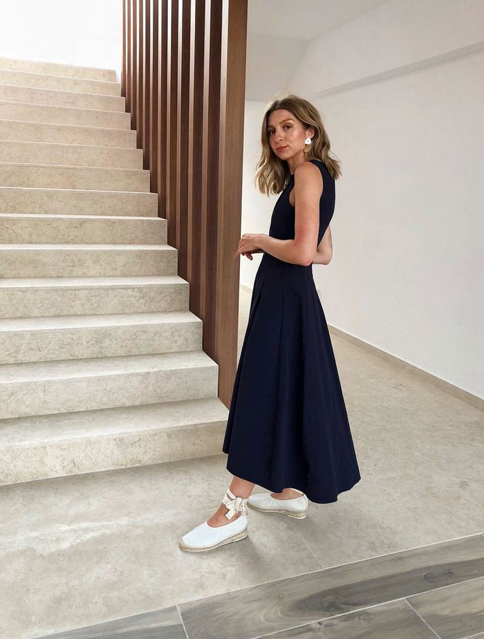 Minimalist Summer Outfits: Brittany Bathgate in an A-line dress