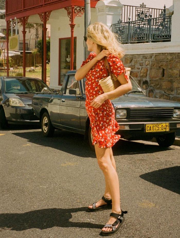 Faithfull The Brand: Lucy Williams wears a Faithfull The Brand mini dress