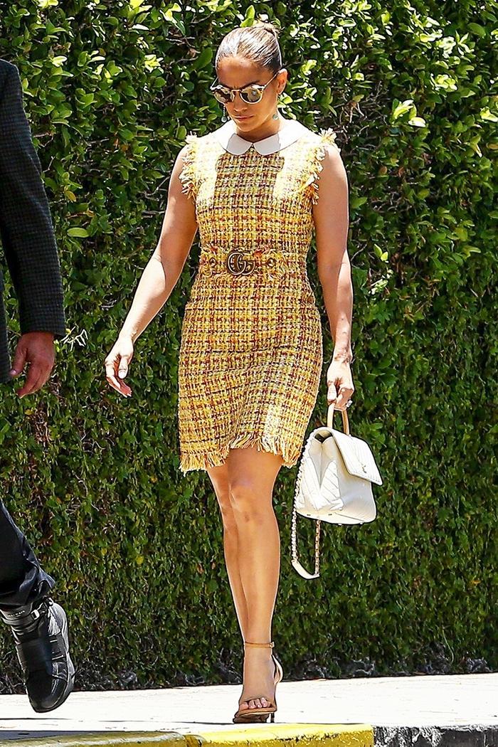 Jennifer Lopez wearing the tweed trend