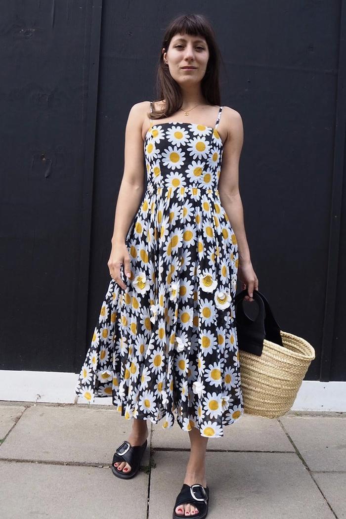 Best Debenhams brands: Katherine Ormerod in Richard Quinn dress