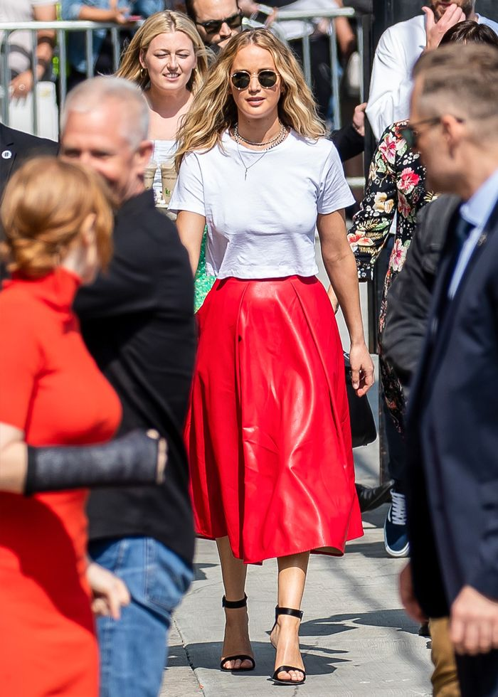 Jennifer Lawrence red leather skirt and t-shirt: