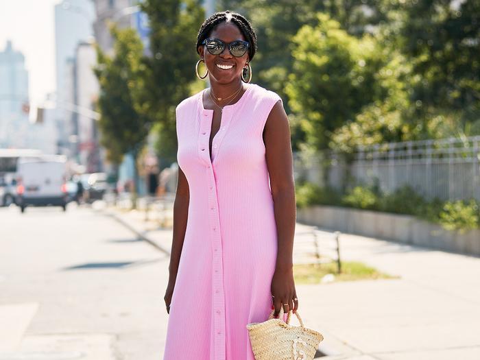 Pink Summer Dress Street Style