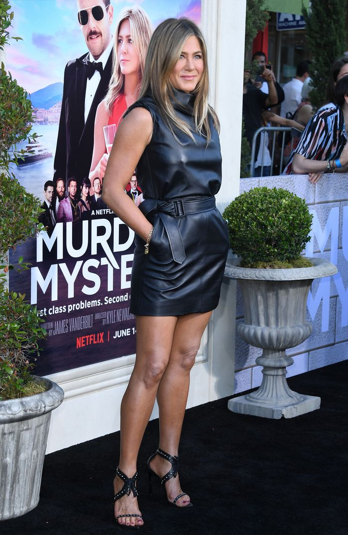 Jennifer Aniston leather dress: Celine dress at Murder Mystery premiere