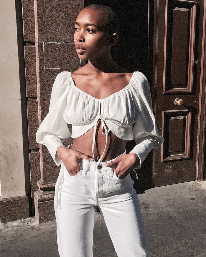 All White Outfits Aesthetic Summer Style: Crop Top and White Jeans