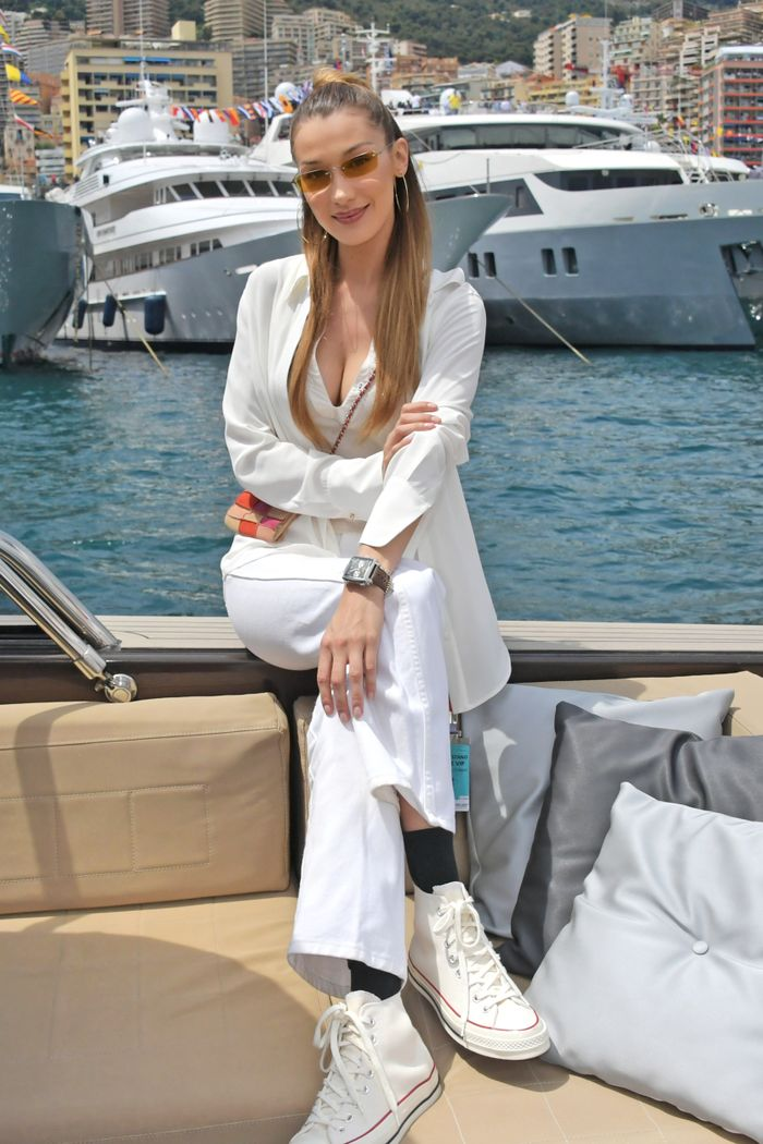 Bella Hadid in classic white Converse high-tops