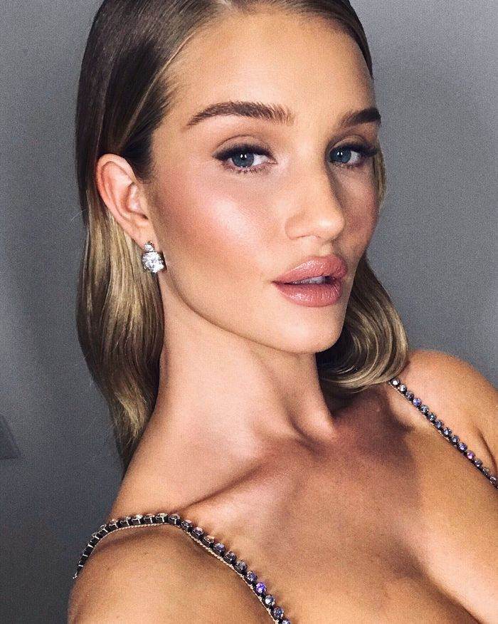 Rosie Huntington-Whiteley Foundation: Rosie with slicked-back hair