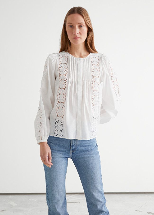 & Other Stories Floral Lace A-Line Blouse