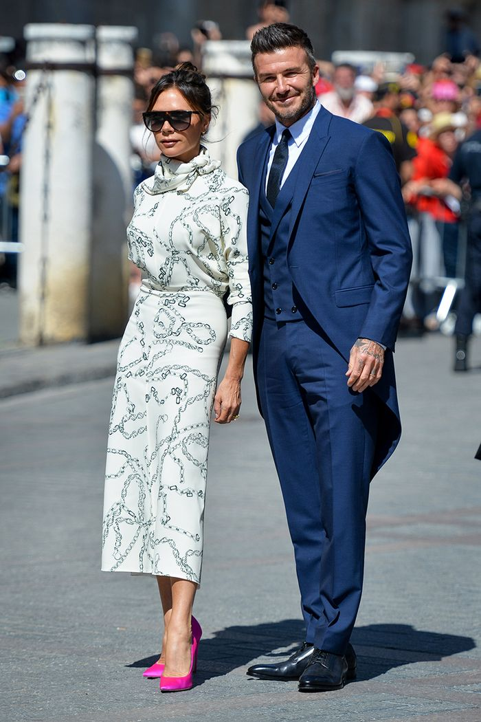 Victoria and David Beckham wedding guest style