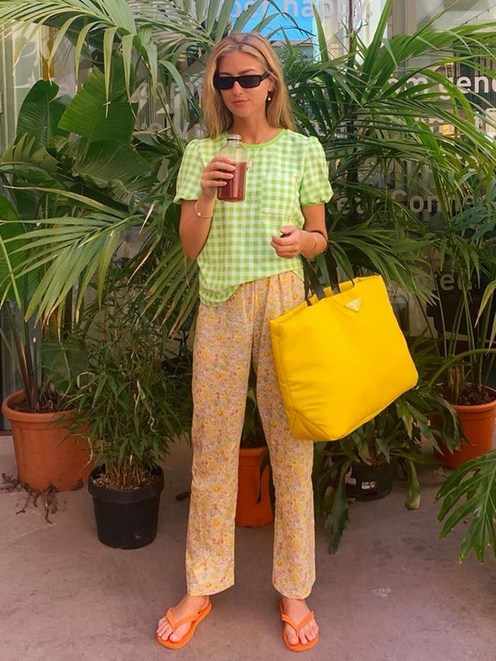 lime green aesthetic trend: emilie sindlev in a gingham top