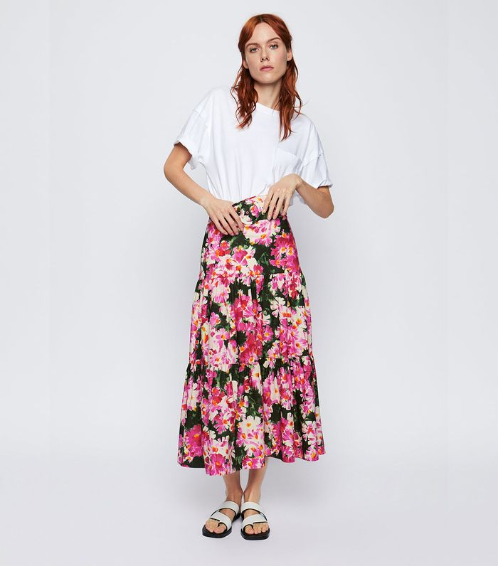 Zara Belted Print Skirt
