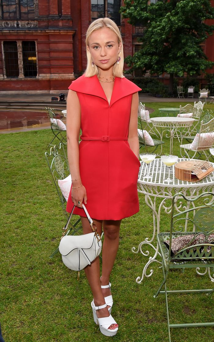 V and A summer party: Red Amelia Windsor dress and white accessories