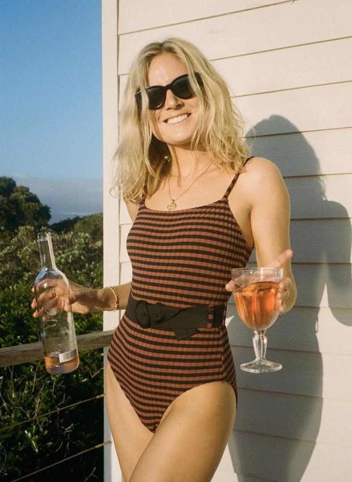 Vintage swimwear trends: Lucy Williams in swimsuit