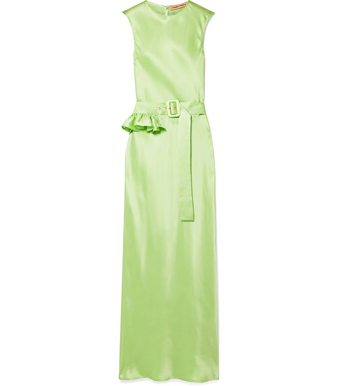 Maggie Marilyn + Net Sustain Take a Bite Belted Ruffled Silk Maxi Dress