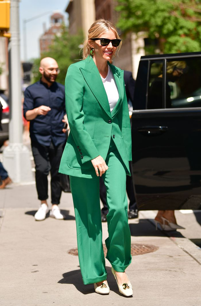 Sienna Miller green Gucci trouser suit