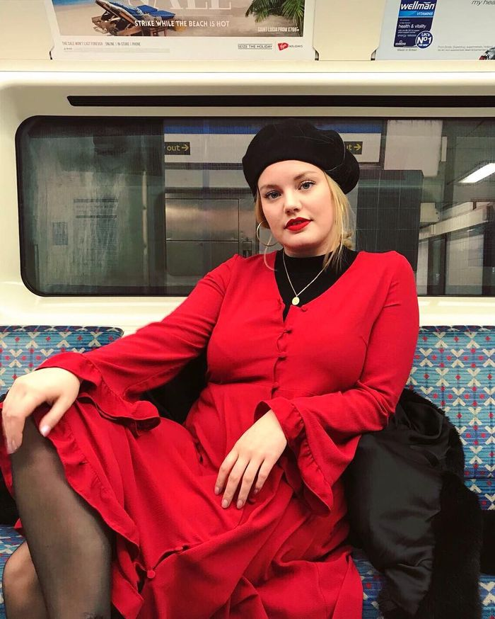 Nars The Multiple: ASOS Lotte wearing red dress on the tube