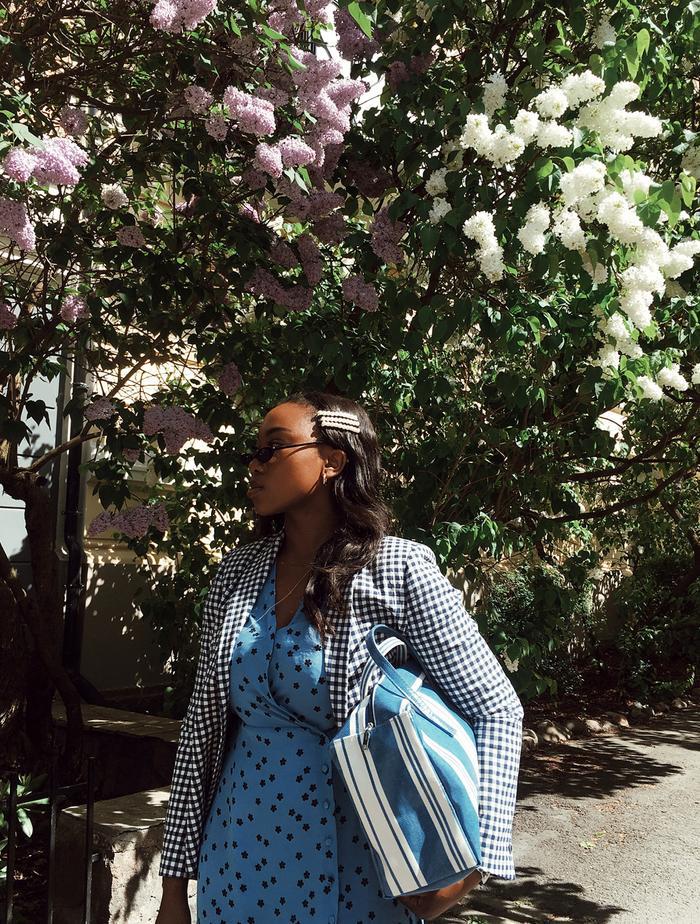Zara Transitional Autumn Collection 2019: Nnenna Echem in a checked Zara blazer