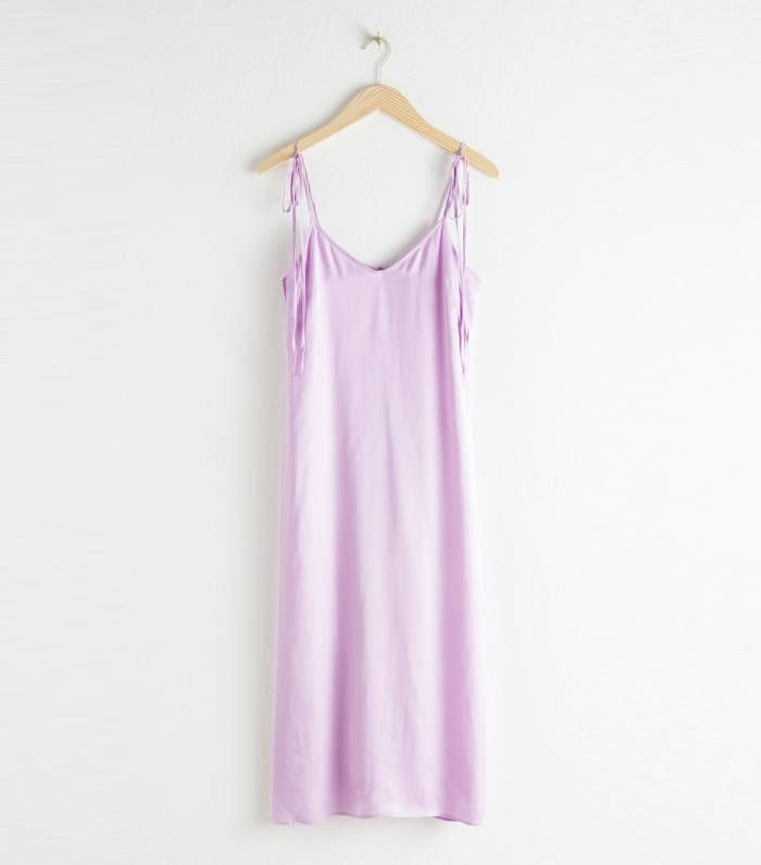 & Other Stories Shoulder Tie Midi Slip Dress