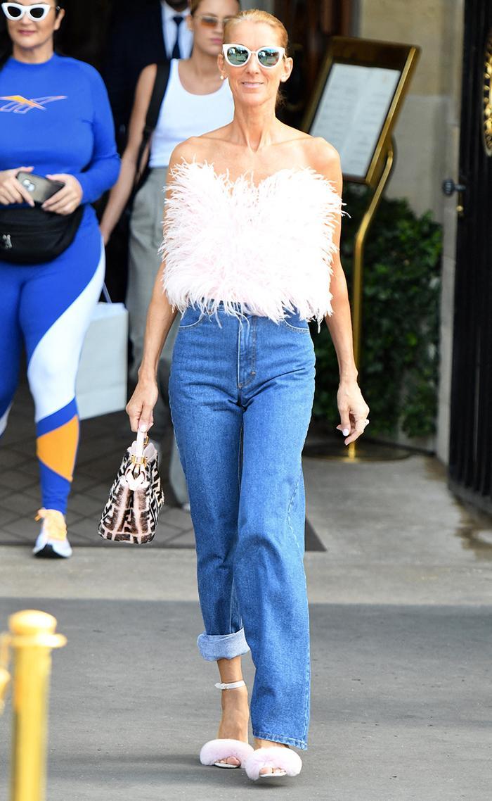Céline Dion asymmetrical jeans