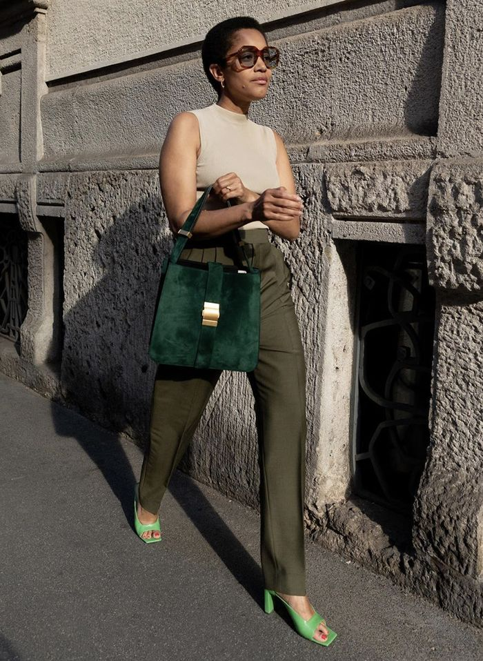 How to wear a tank top: tailored trousers and colourful heels