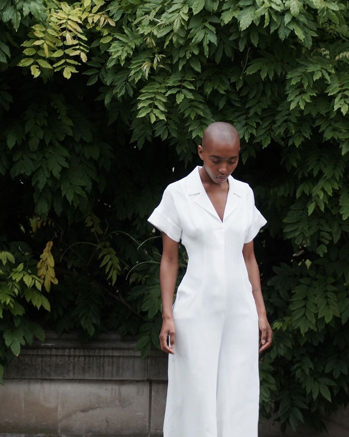 Natural Skincare Products: Marisa Martins wearing white jumpsuit
