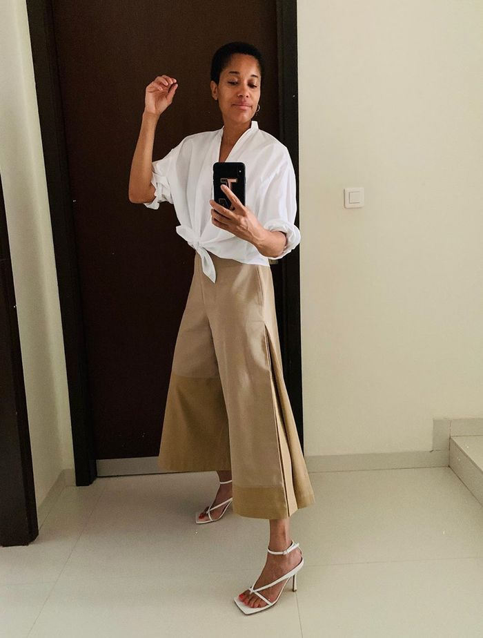 Shoes to Wear With Trousers: Tamu McPherson in a pair of cropped culottes and strappy sandals