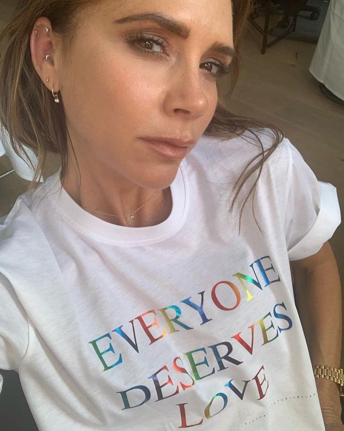 Victoria Beckham Eyebrow Products: VB wearing Pride t-shirt