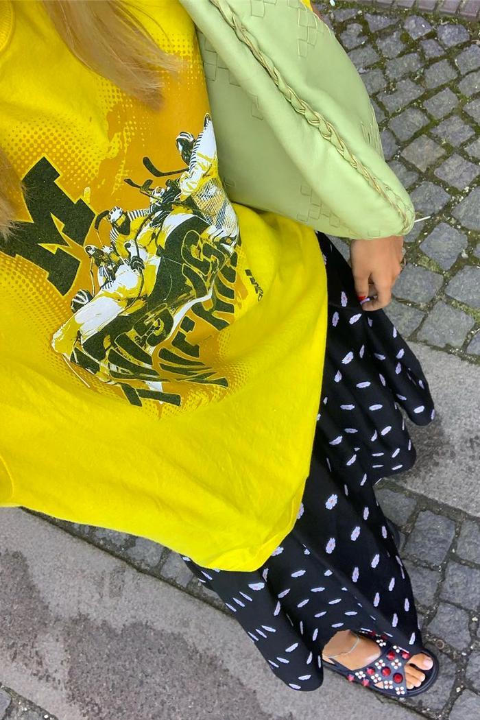 Best high street slider sandals: Anna wearing embellished sliders