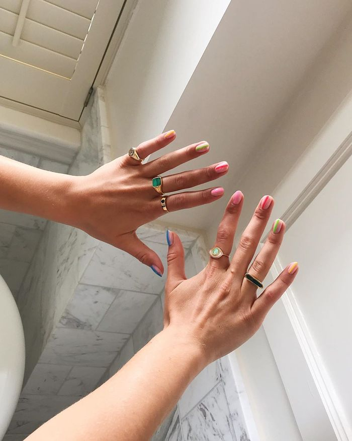 Summer nail designs: Megan Ellaby wearing rainbow nail stripes