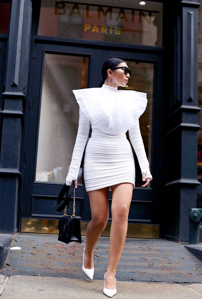 balmain white dress