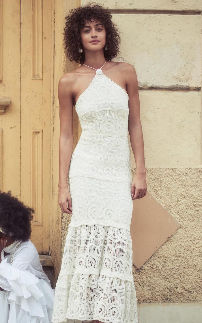 Alexis Yvonna Cotton Lace Halterneck Maxi Dress