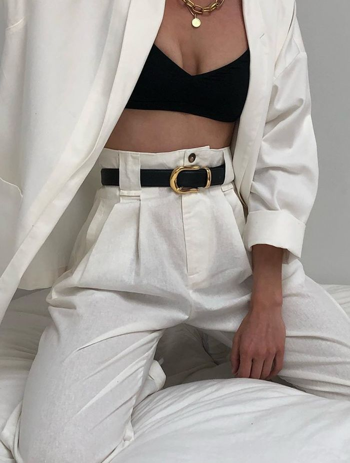 Bra Top Outfits: @naninvintage wears her bra top with a white suit