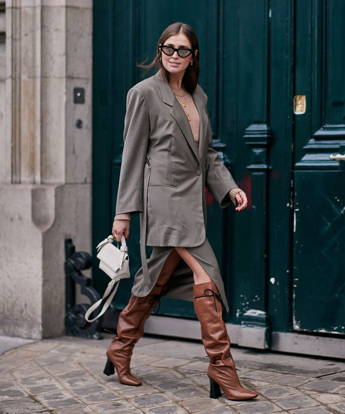 Street Style Outfit With Brown Knee-High Boots