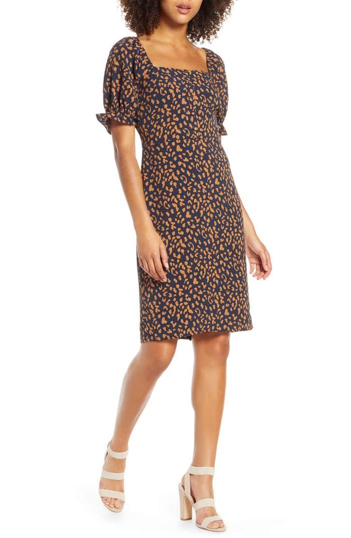 Chelsea28 Leopard Print Square Neck Dress