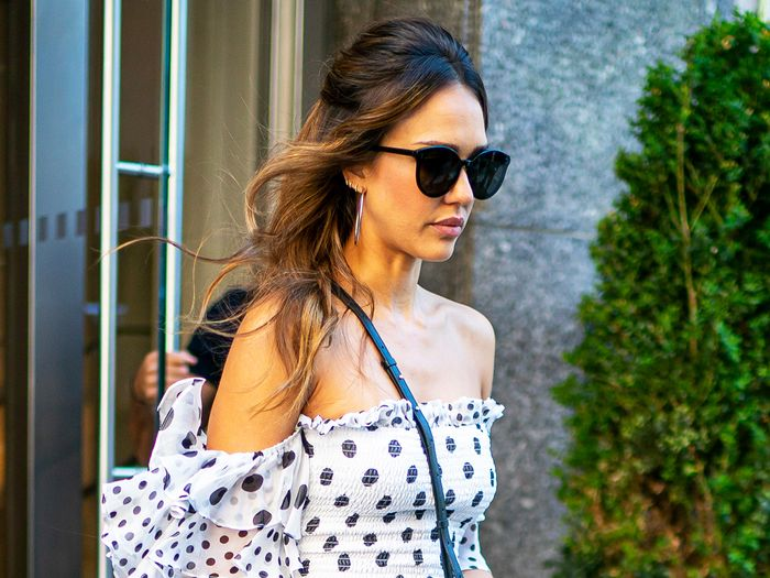 Jessica Alba Wore the Off-the-Shoulder Dress Style That's Still Cool in 2019