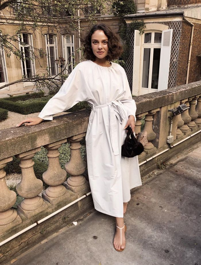 Best COS Dresses: Margarita Muradova wears a belted COS dress