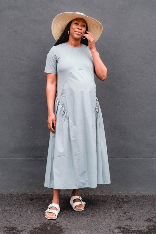 Best COS Dresses: Thandi wears a belted drop waist COS dress