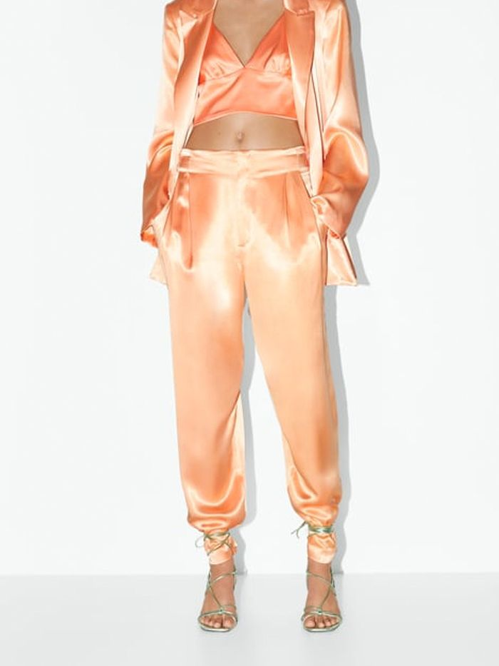 lace up sandals over trousers trend: zara lace up sandal with satin trousers