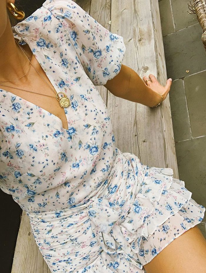 Best floral mini dresses: Lucy Williams in mini dress