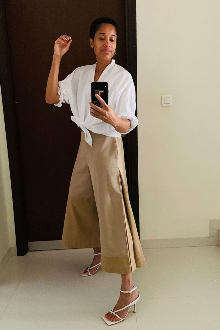 City summer outfits ideas: Tamu in shirt and culottes