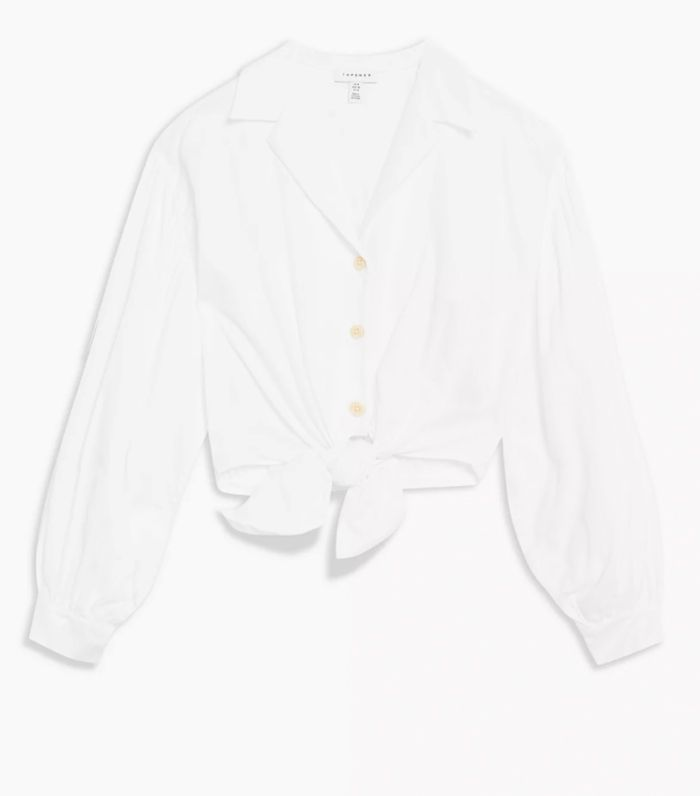 Topshop Ivory Poplin Tie Front Shirt
