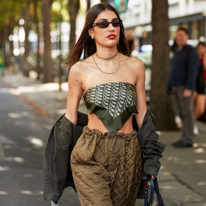 Scarf as Top Street Style