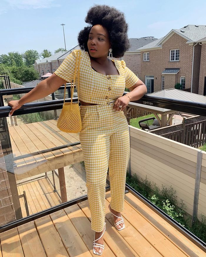 Egg-Zyme Whipped Foam: Ada Oguntodu wearing yellow gingham outfit