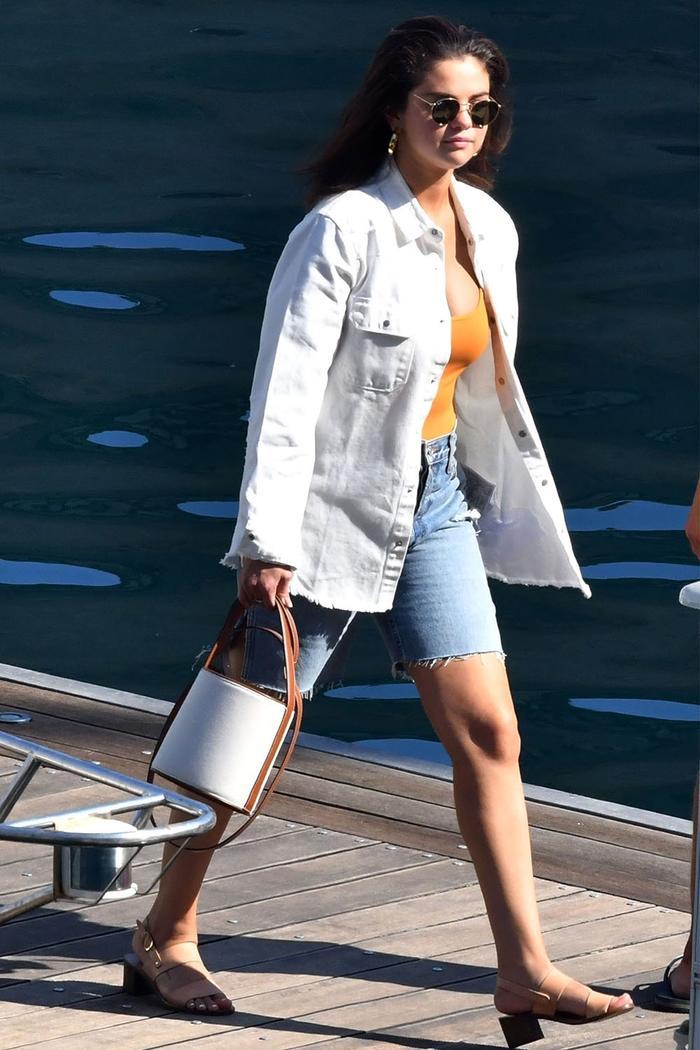 Selena Gomez denim Bermuda shorts trend