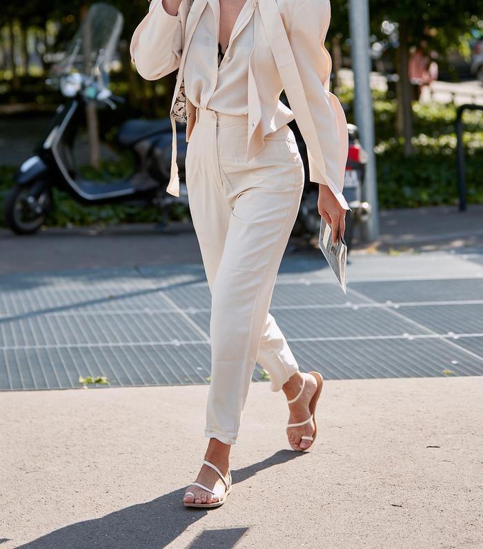Best white sandals: flat white strappy sandals