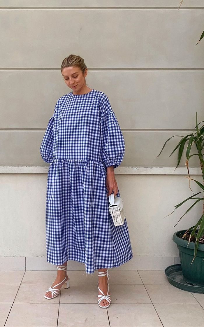 brands like COS: Brittany Bathgate wearing a gingham dress