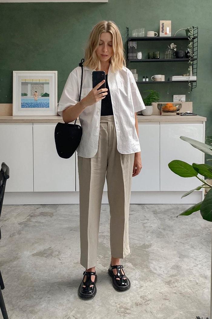Safari fashion trend: Brittany Bathgate in short sleeved shirt