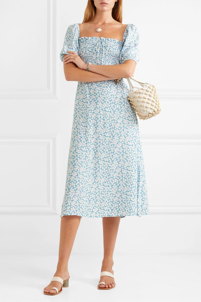 Faithfull the Brand Majorelle Shirred floral-Print Midi Dress