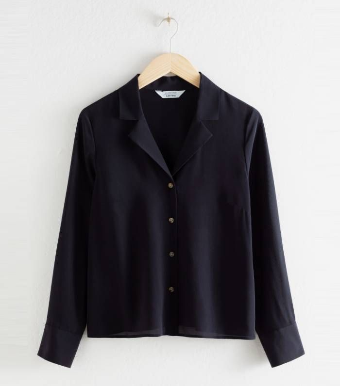 & Other Stories V-Cut Silk Button Up Blouse