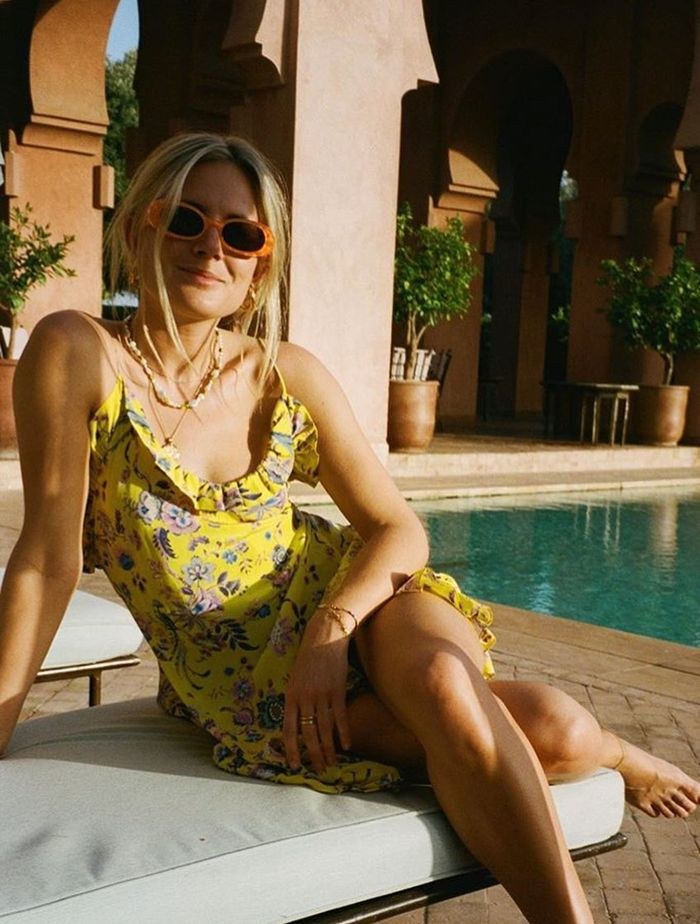 Les Rêveries: Lucy Williams wears a yellow printed dress from Les Rêveries